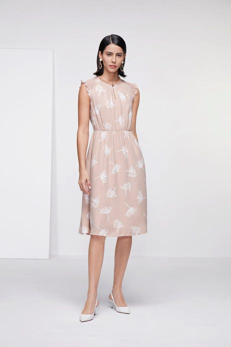 Floral Printed Dress with Shirred Detail