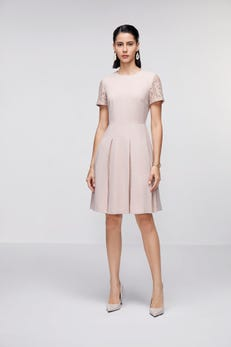 Fit & Flare Dress with Lace Panel Pleated Skirt