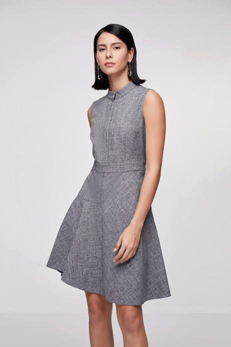 Anti-Bacterial Crosshatch Fit & Flare Dress