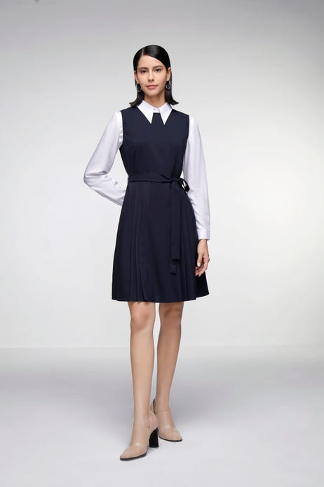 Fit & Flare Dress with Contrast-Panel Skirt (with Belt)