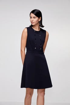 Texture Knit Fit & Flare Dress with Metal Button Detail