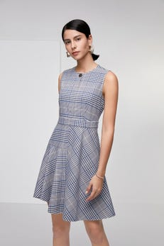 Bold Check Fit & Flare Dress