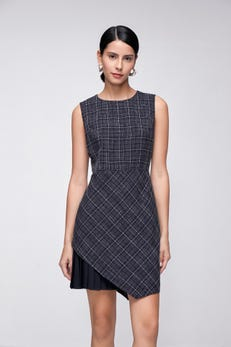 Sleeveless Fit & Flared Dress with Pleated Detail
