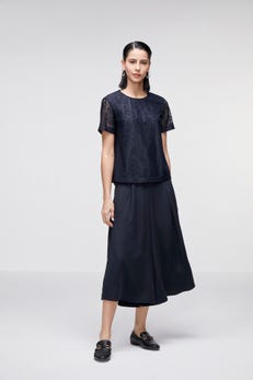 Lace Top with Pleat Back