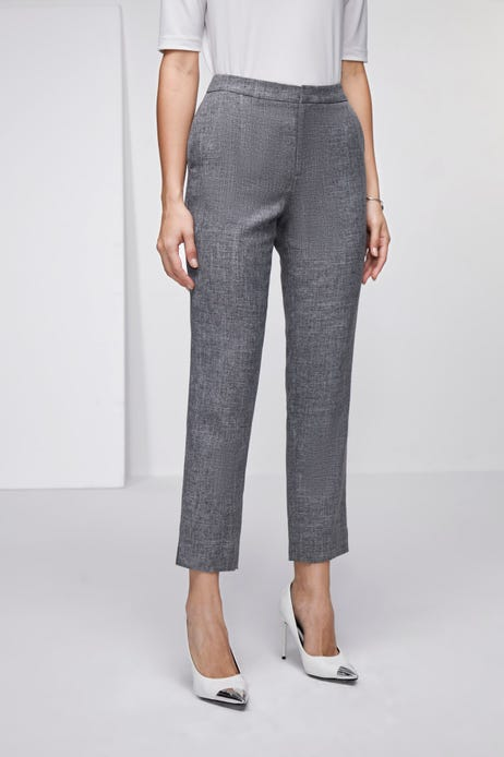 Anti-Bacterial Crosshatch Ankle Cigarette Pants with Side Slits