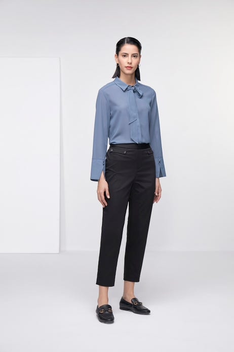 Cropped Cigarette Stretch Sateen Pants