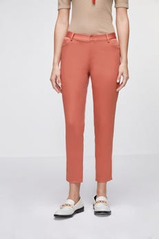 Cropped Skinny Sateen Pants with Piping Detail & Side Slits
