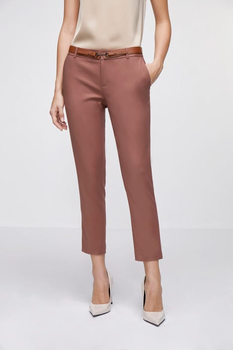 Cropped Skinny Double Weave Pants with Belt