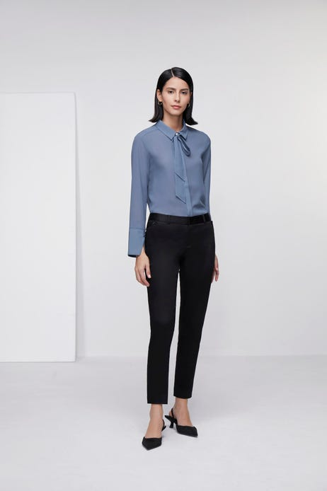 Ankle Skinny Double Weave Pants with Stitching Detail