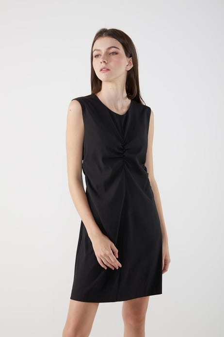 Cinched Dress With Contrast Zip